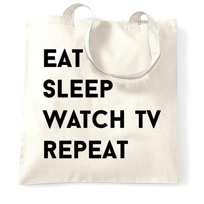 ed953325af95c Amazon.com | Funny Lazy Tote Bag Eat, Sleep, Watch TV, Repeat Slogan ...