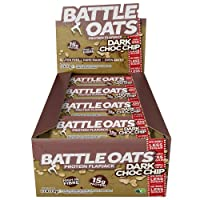 Battle Oats High Protein Gluten Free Flapjacks Protein Bar, New Low Sugar Formula, 12 x 70g - Dark Choc Chip
