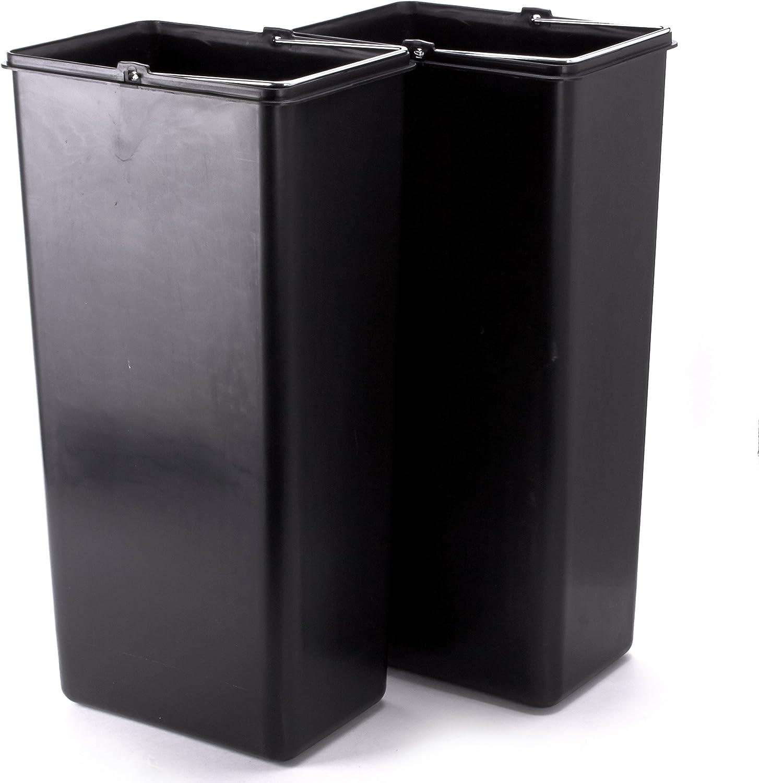Cromado MSV Cubo DE Basura ECONOMICO 2X20 L DE Acero Inoxidable 48.5x30x40 cm
