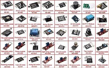 Arduino - Kit de sensor para Arduino UNO R3 Mega2560 Mega328 Nano (40 tipos de módulos): Amazon.es: Electrónica