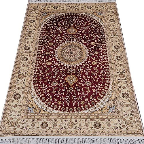 YILONG CARPET 4 x6 Hand Knotted Nain Persian Silk Rug Oriental Classic Medallion Red Hand Woven Living Room Carpet Y133C4x6