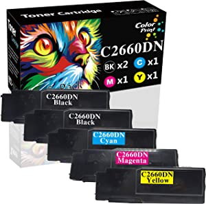 Colorprint Compatible Toner Cartridges Replacement for Dell C2660dn C2665dnf 2660 2660dn 2665dnf C2660 Black 593-BBBU Cyan 593-BBBT Magenta 593-BBBS Yellow 593-BBBR (5-Pack, 2 BK+1 C+1 M+1 Y)