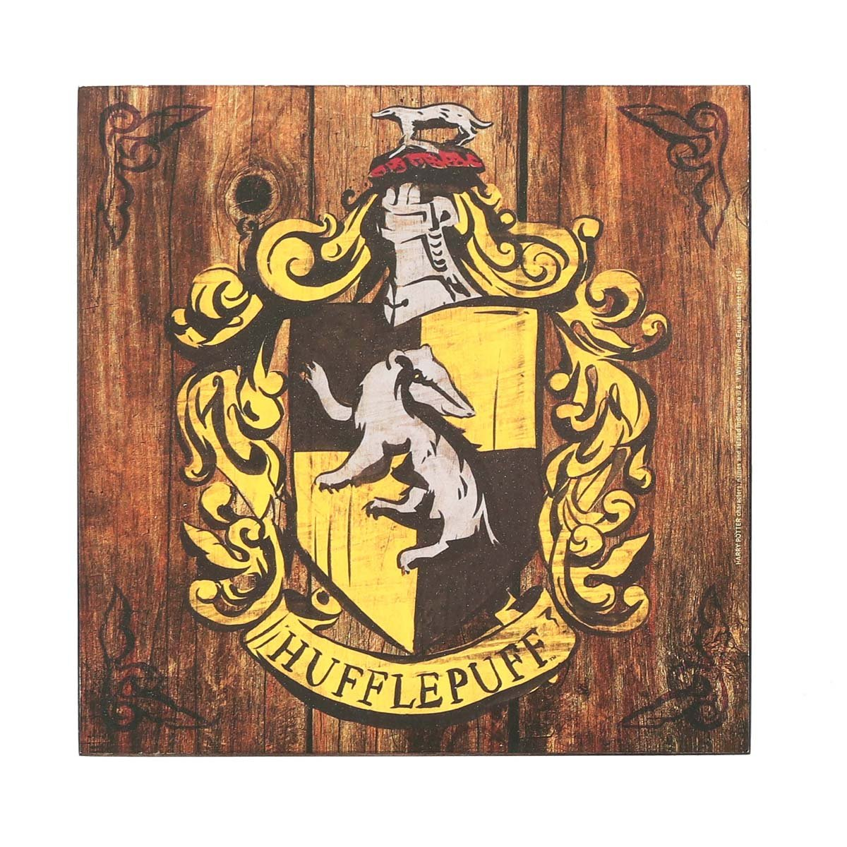 Amazon.com: Open Road Brands Harry Potter Hufflepuff Crest Wood Wall ...
