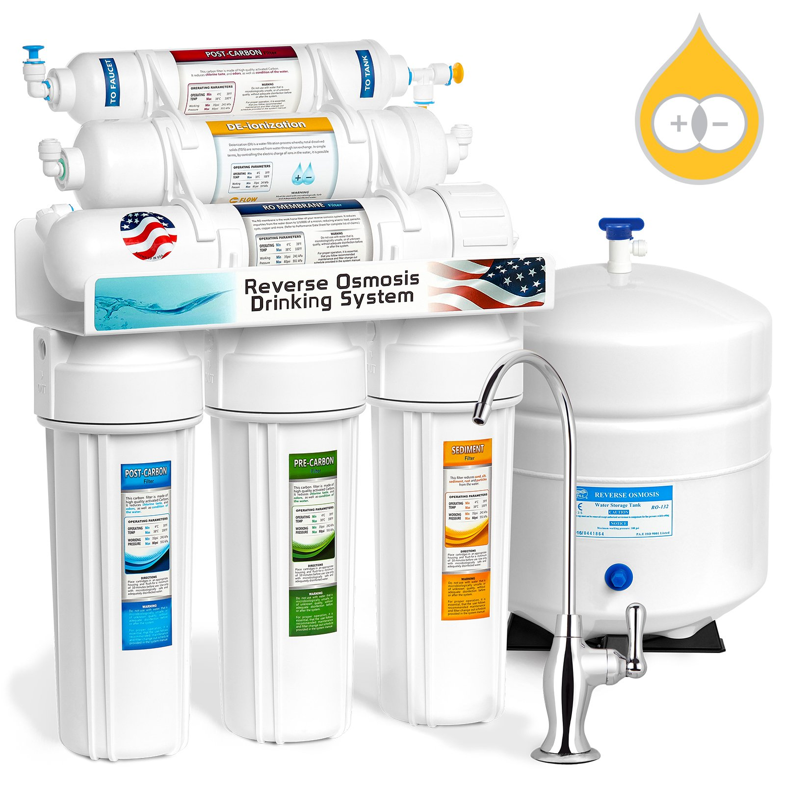 Express Water RODI10D 6 Stage Deionization + Reverse Osmosis Drinking Water Filtration System 100 GPD RO Membrane DI Resin Mixed Bed Ion Exchange Filter Residential Under Sink by Express Water
