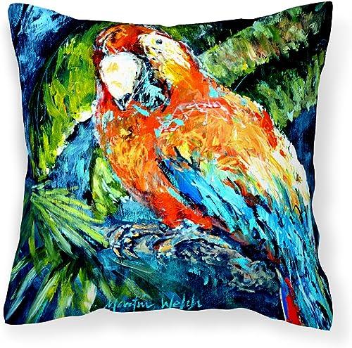 Caroline's Treasures MW1204PW1414 Yo Yo Mama Parrot Canvas Fabric Decorative Pillow