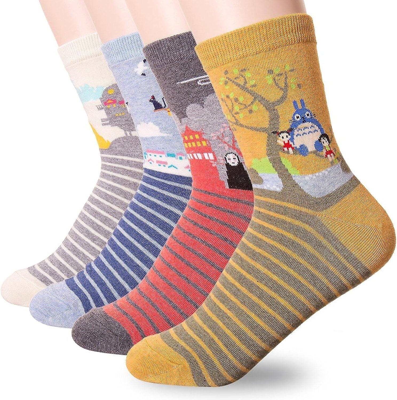 Happytree, calcetines para mujer, 3 – 6 unidades, divertidos y geniales gatos, perros, diseño de animales dulces, buena idea para regalo, talla única