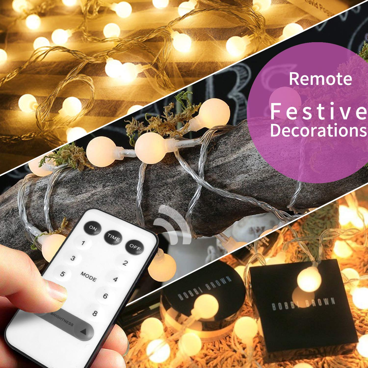 owlguart Globe String Lights Fairy Decorative Light for Outdoor, Indoor, Home,Wedding,Christmas Tree, Party (Warm White, Battery-Powered, USB-Powered,50 LED 16 Ft)