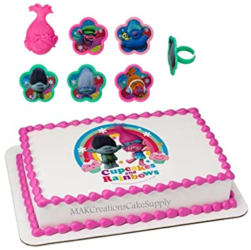 Image Unavailable Not Available For Color Dreamworks TROLLS Licensed Edible Wafer Cake Topper