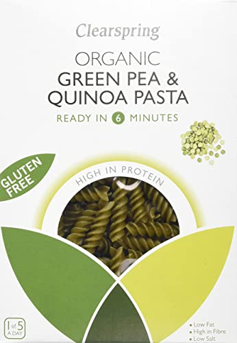 Clearspring Organic Gluten Free Green Pea and Quinoa Fusilli Pasta 250 g (Pack of 4)