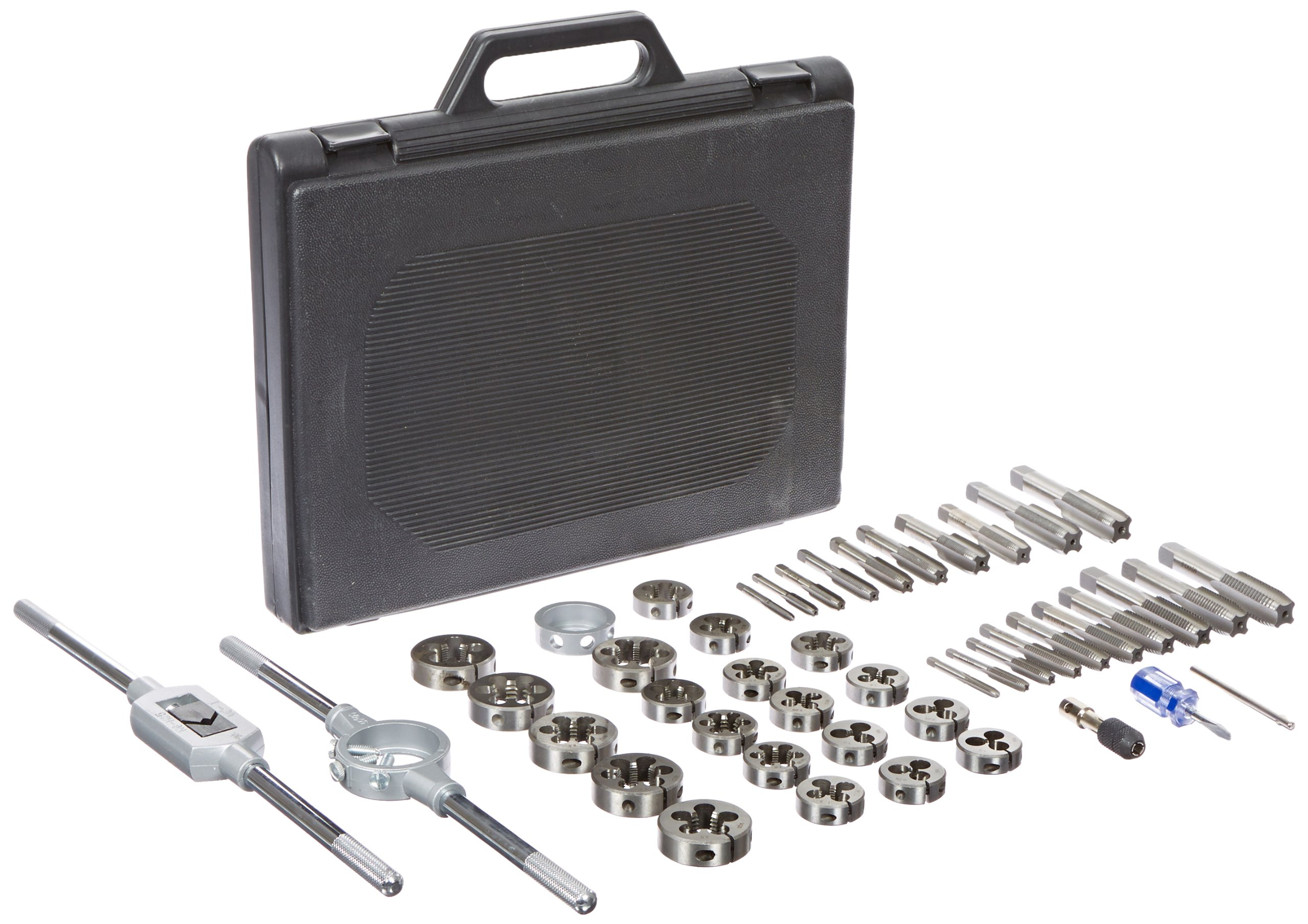 Drill America 45 Piece Carbon Steel Tap and Die Set (6 mm - 24 mm, NC and NF), DWT Series by Drill America