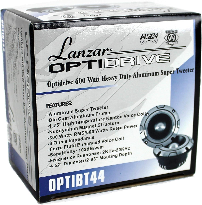 4 pack Lanzar OPTIBT44 1200W Optidrive Heavy Duty Aluminum Bullet Tweeters