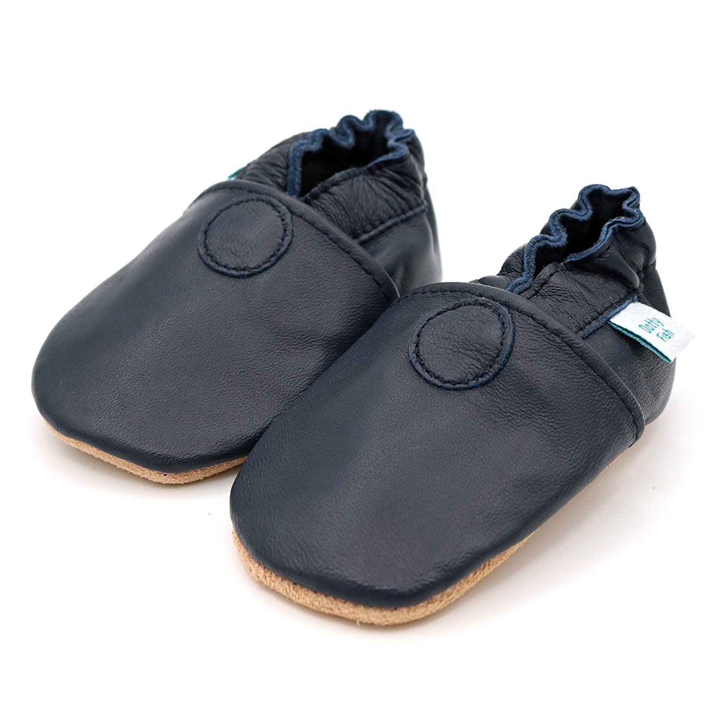 Toddler Shoes. Boys and Girls 0-6 Months to 3-4 Years Dotty Fish Soft Leather Baby Shoes Non-Slip Suede Soles Plain Colours
