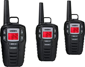 Uniden SX307-3C FRS 3-Pack, Up to 30-Mile Range, Walkie Talkies, 22-Channel FRS 2-Way Radios - Black