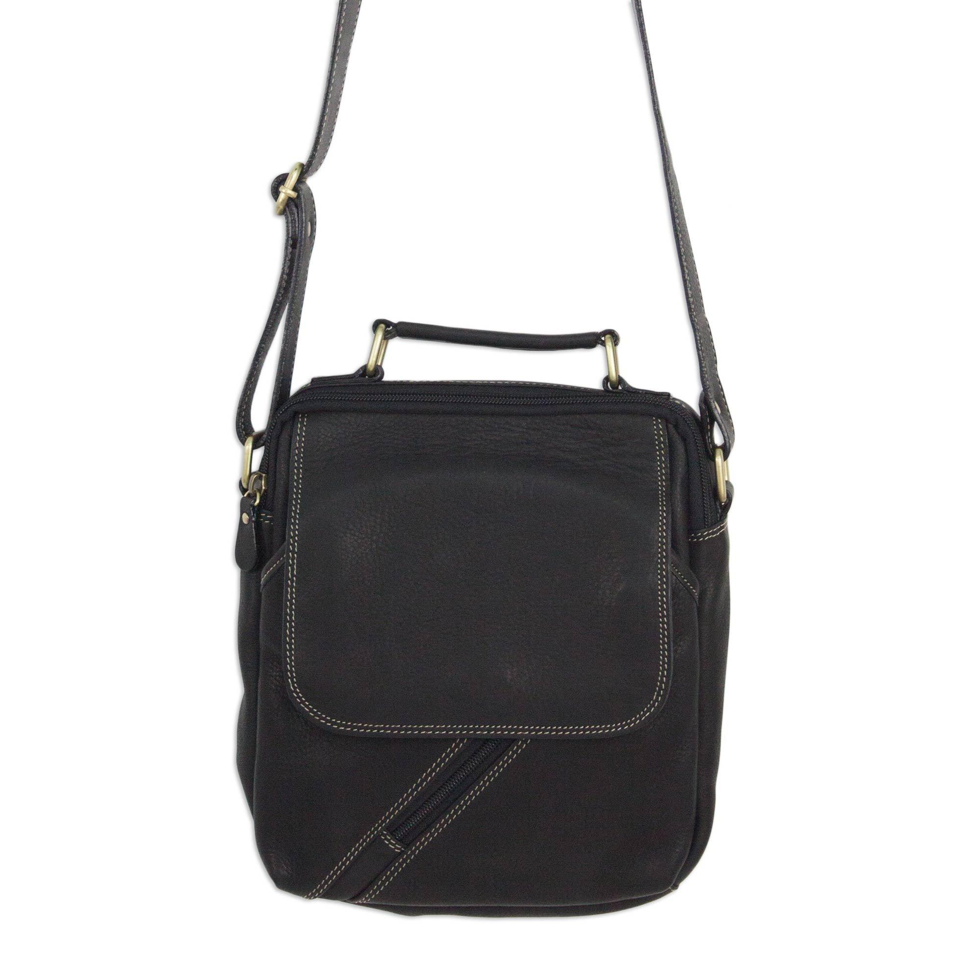 NOVICA Black Leather Shoulder Bag, 'Voyager In Black'