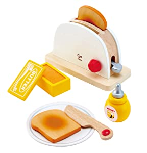Hape White Wooden Pop-Up Toaster Set, Pretend Play Kitchen Accessories for Kids Preschoolers