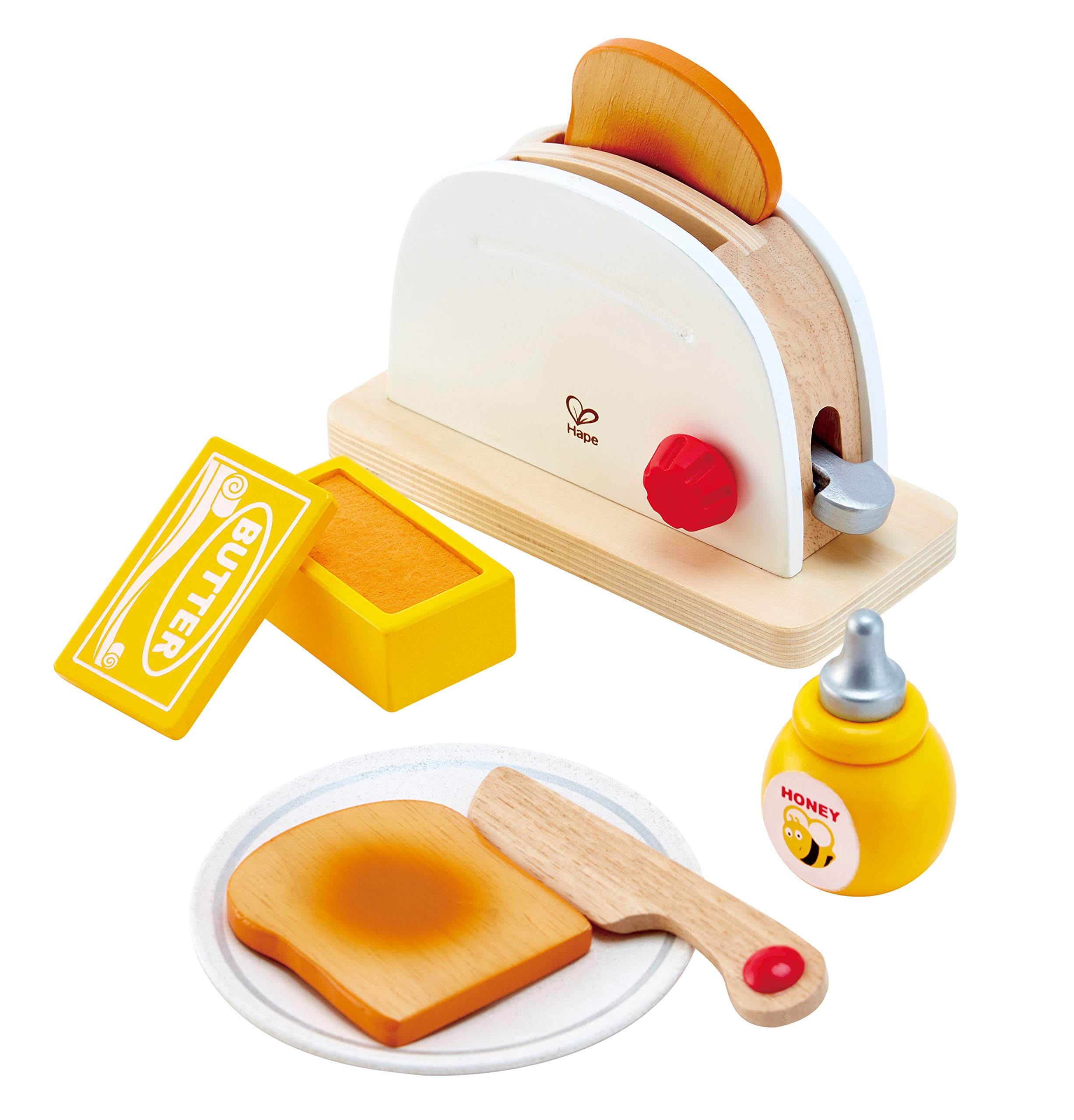Hape White Wooden Pop-Up Toaster Set, Pretend Play Kitchen Accessories for Kids Preschoolers