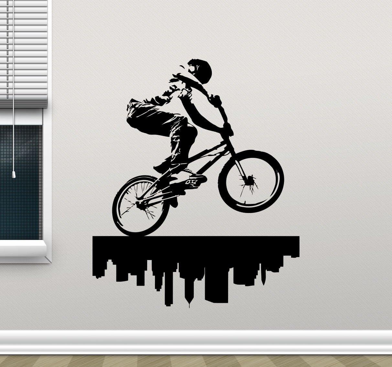 BMX Bike Boys Bedroom Bicycle VINYL WALL DECAL ROOM DECOR LETTERING STICKER ART
