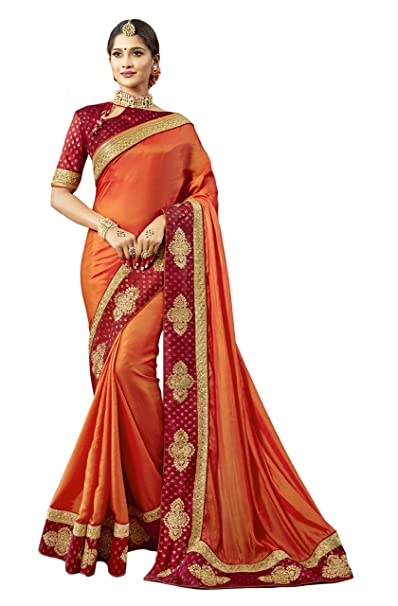 cf4b7897083f Amazon.com: Indian Bollywood Designer Ethnic Wedding Party Wear Pure Silk Saree  Sari S6229 Orange: Clothing