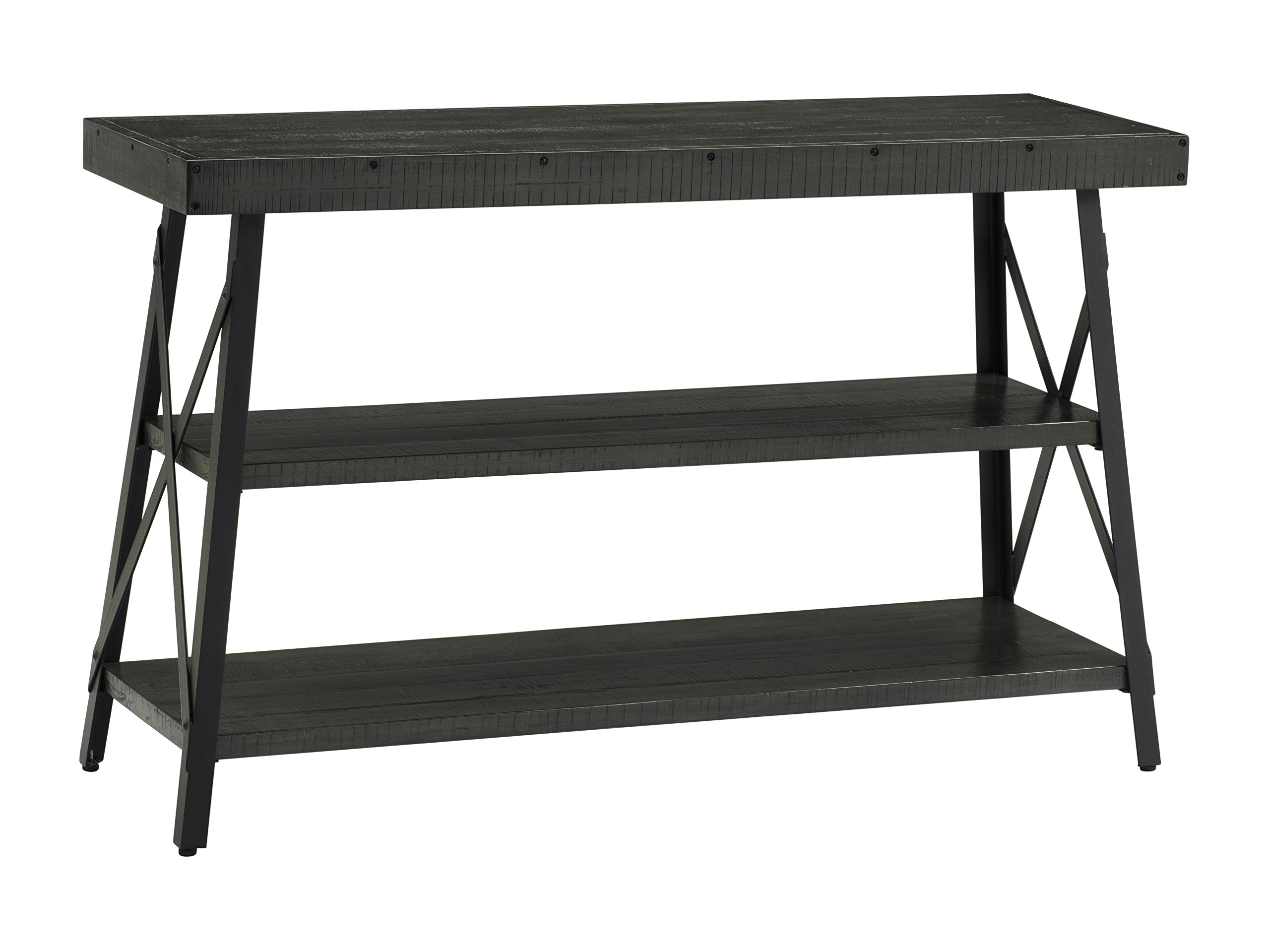 "Martin Svensson Home 890449 Xavier Sofa/Console Table, Grey - Finish: dark Grey with rough-hewn saw marks Crafted from solid wood - New Zealand pine with rough hewn saw marks Exposed rivets across the Top and Black Steel metal ""x"" cross on the end caps give it a distinct industrial and rustic look - living-room-furniture, living-room, console-tables - 81vPURqKTpL -"