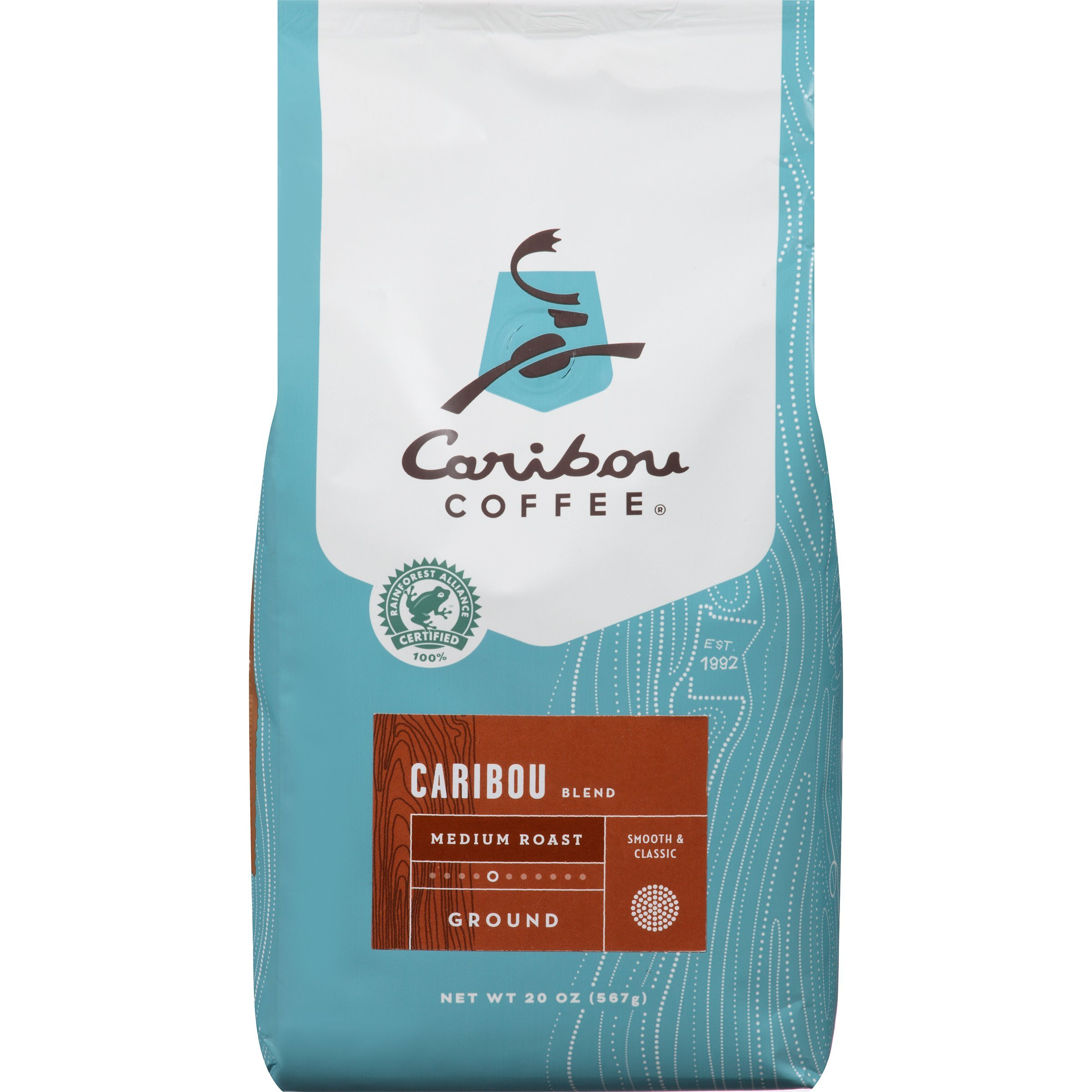 Caribou Coffee, Caribou Blend, Ground, 20 oz. bag, Smooth & Balanced Medium Roast Coffee Blend from the Americas & Indonesia, with A Rich, Syrupy Body & Clean Finish; Sustainable Sourcing