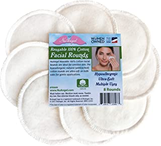 product image for NuAngel Reusable 100% Cotton Facial Rounds, Makeup Remover, Made in USA