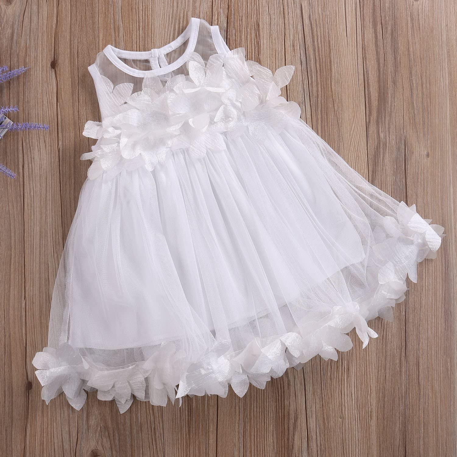 Argorgeous Baby Girl Tulle Dresses Petal Sleeveless Lace Princess Pageant Sundresses Formal Party Clothes Set