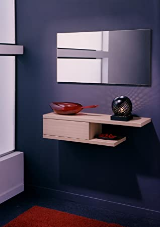 conjunto de recibidor con espejo para entradas de casa u oficina en color roble