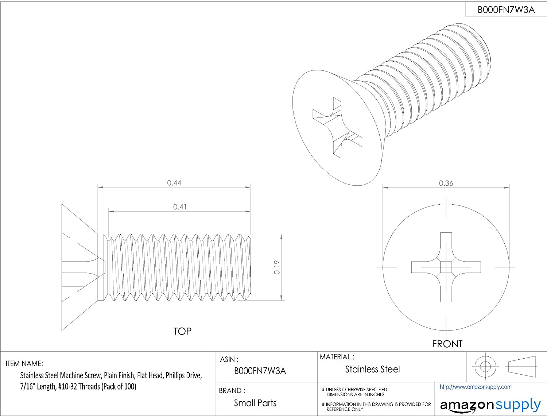 Stainless Steel Machine Screw Phillips Drive 7//16 Length BRIGHTON-BEST INTERNATIONAL B000FN7W3A Pack of 100 Plain Finish #10-32 Threads Flat Head 7//16 Length