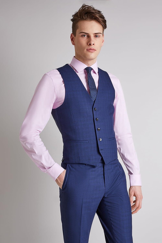 DKNY Mens Ink Blue Scratch Suit Jacket Slim Fit Single Breasted Blazer