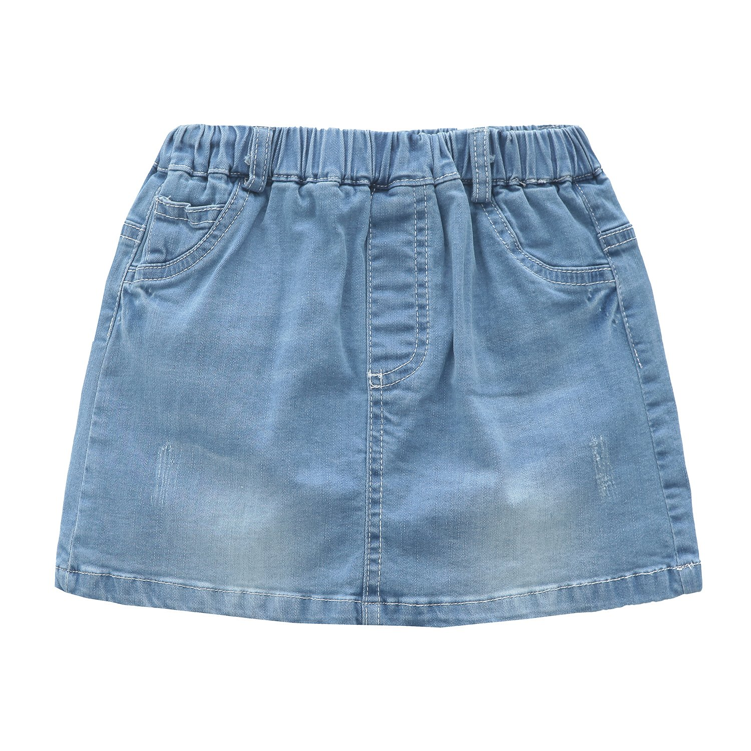 Grandwish Little Girls Solid Color Denim Skort 7