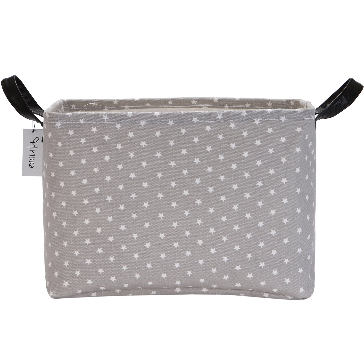 16.5 x 11.4 x 9.8 16.5 x 11.4 x 9.8 HWSB0003STAR Hinwo 30L Stylish Grey Base and White Star Pattern Storage Bin Basket Canvas Fabric Toy Chest Organizer with PU Leather Handles for Kids Toys Clothes Nursery Playroom and Shelves