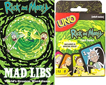 Mattel Games Mad Scientist Rick and Morty Uno Theme Card Deck Bundled with Rick & Morty Intergalactic Fun Word Game Galaxy Get Shwifty Mad Libs Pack 2 Items: Amazon.es: Juguetes y juegos