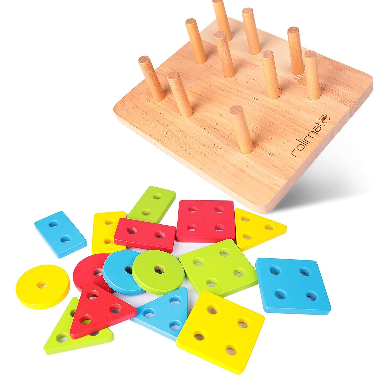 Rolimate Steckplatte Holz Sortierspiel Holzsteckspiel mit 16-teilig Farben-und Formenwurfel fur Kinder ab 18 Monaten