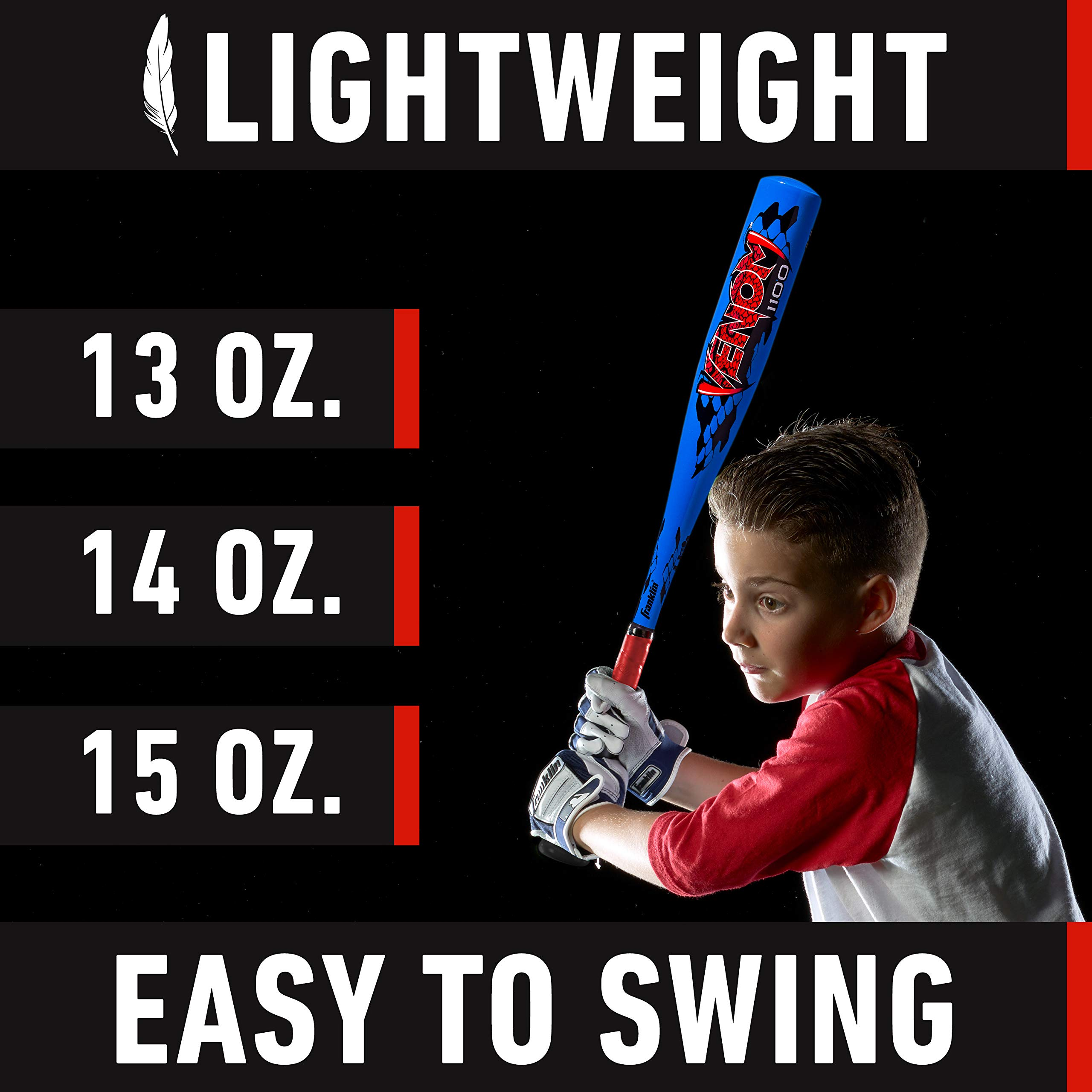 Franklin Sports Venom 1100 Official Teeball Bat - 25'' (-11) - Perfect for Youth Baseball and Teeball by Franklin Sports (Image #7)