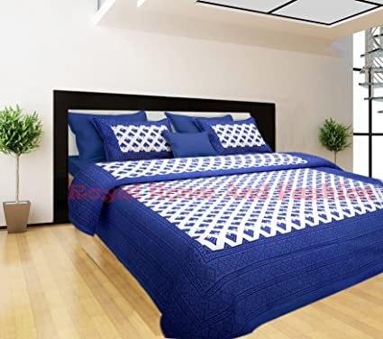 5fe600ee981f Rhf 100% Cotton Double Bed Sheet / Bed Cover Printed (1 Double Bedsheets  With 2 Pillow Cover, Blue Colour): Amazon.in: Home & Kitchen