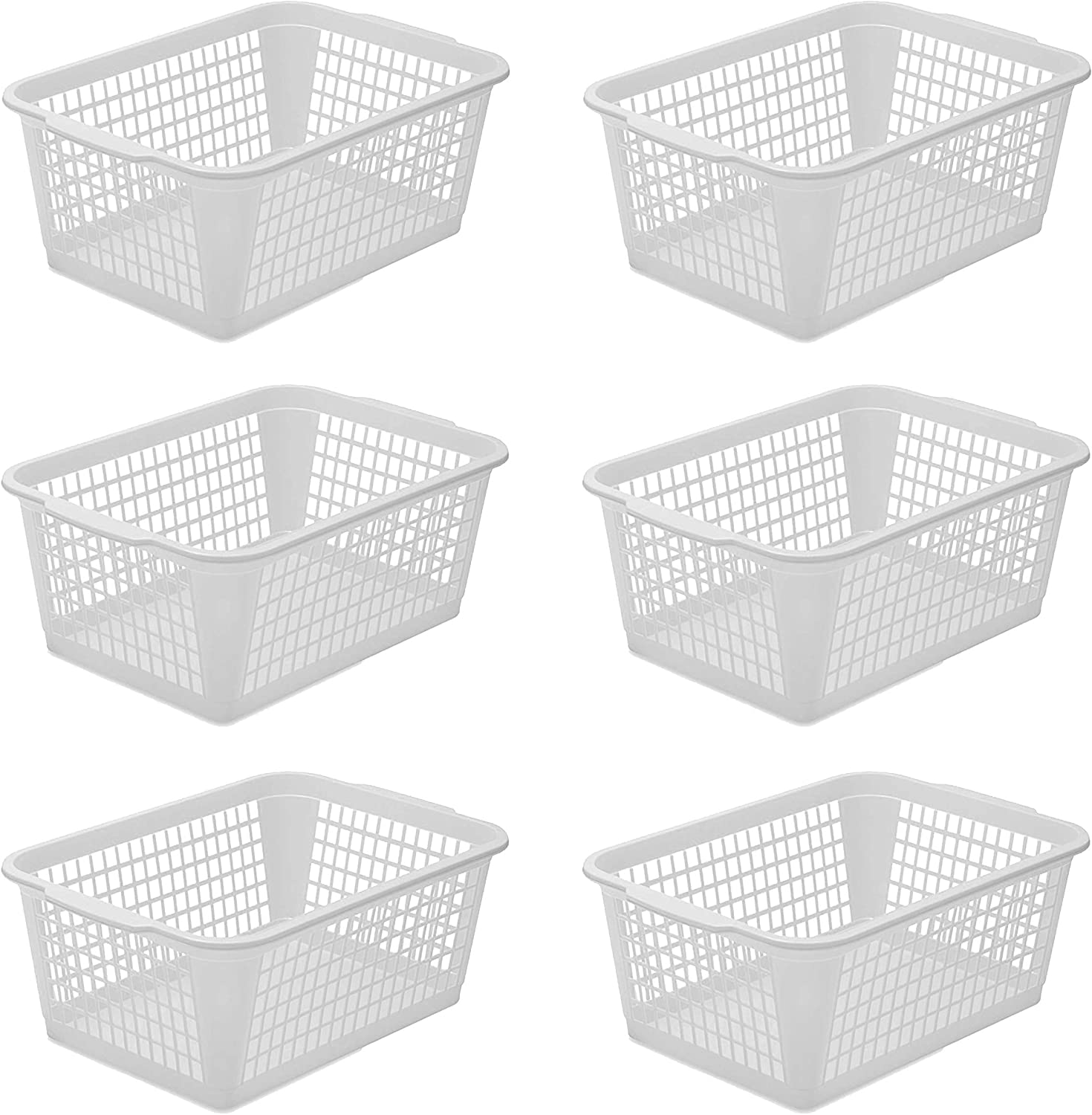 YBM Home 6-Pack Plastic Storage Basket for Office Drawer, Desktop and Classroom - Multipurpose Perforated Bin Tray Organizer for Shelves, Kitchen Pantry, Kids Room, and More 32-1184 White