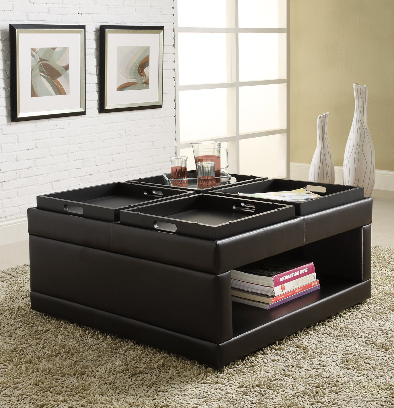 Amazon Homelegance 4732PU Castered Cocktail Ottoman Table