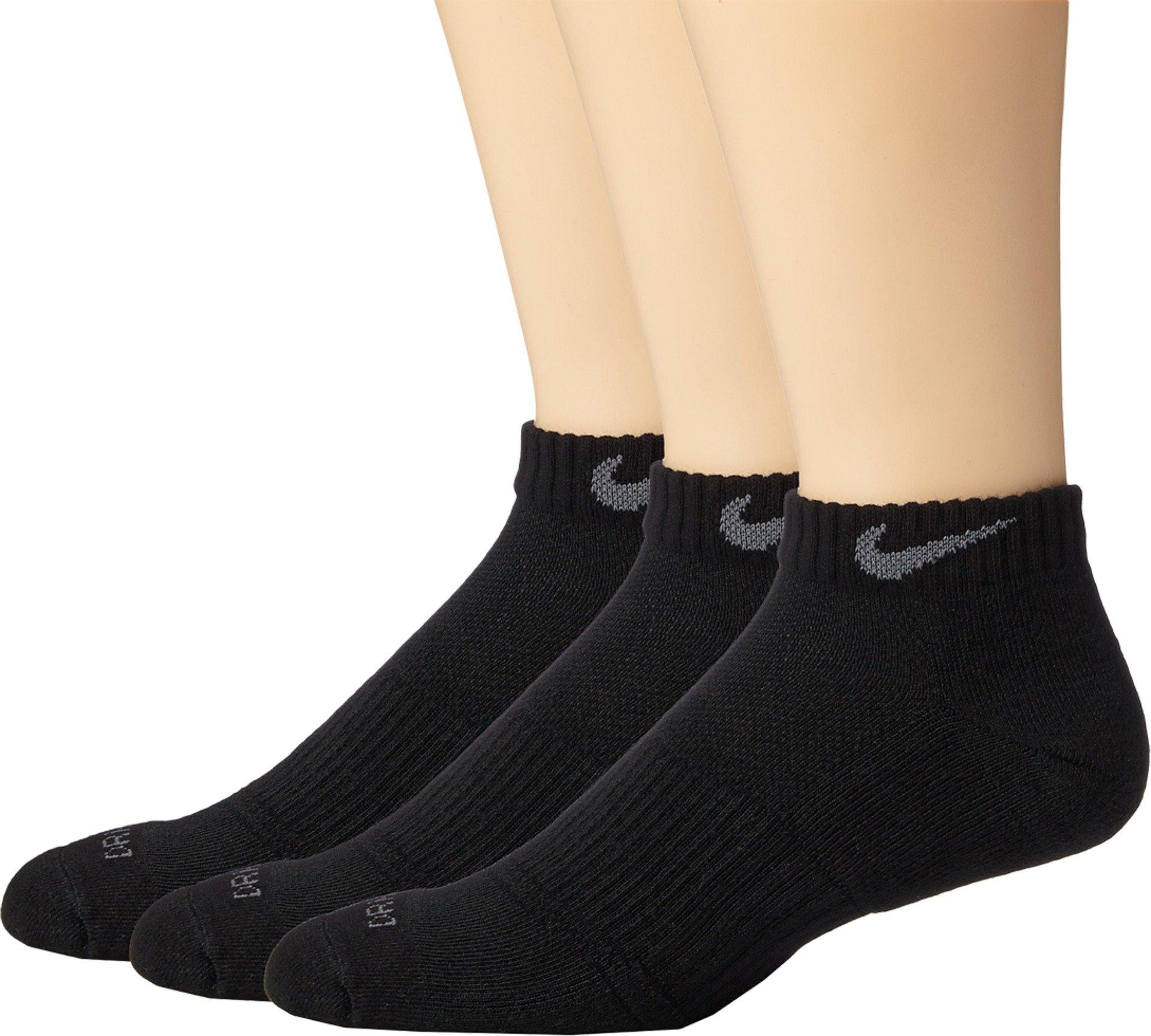 Nike Unisex Dry Cushion Low Training Sock (3 Pair) (Black/Flint Grey, Small)