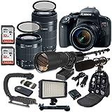 Canon EOS Rebel T7i DSLR Camera Bundle with Canon EF-S 18-55mm f/4-5.6 IS STM Lens + Canon EF-S 55-250mm f/4-5.6 IS STM Lens + 500mm f/8 Preset Lens + Accessory Kit