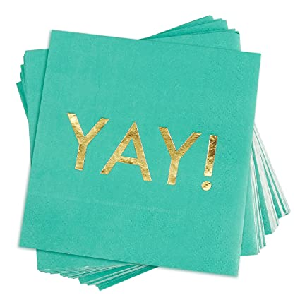 c7d5435ff2a75 50 Pack Cocktail Napkins - Gold Foil YAY Disposable Paper Party Napkins,  Perfect for Birthday