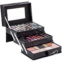 Duer Lika Mixed Beauty Makeup Kits Cosmetic Case Set Eyeshadow Palette Blushes Lip Makeup Jewellery Box Birthday (Black)