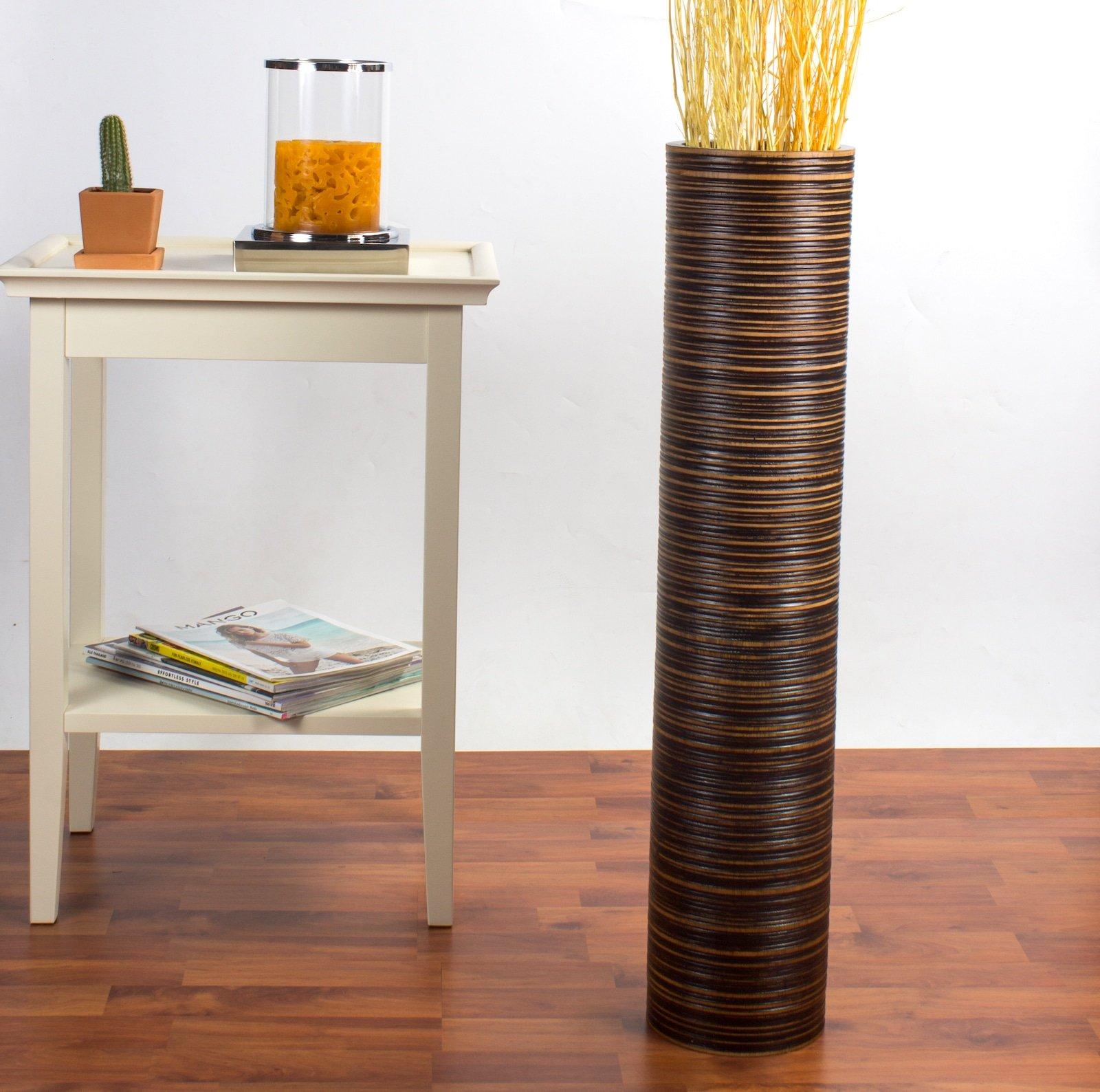 Leewadee Tall Floor Vase 30 inches, Wood, Brown