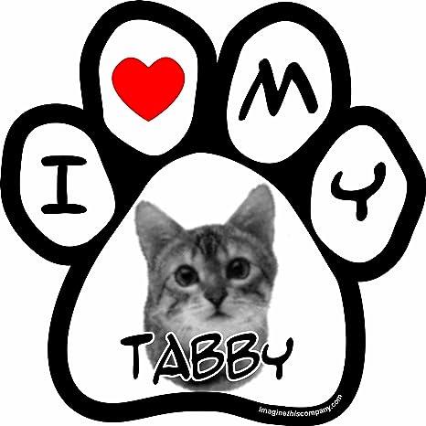 Imaginar este I Love My de gato imagen Paw coche imán, 5 – 1/