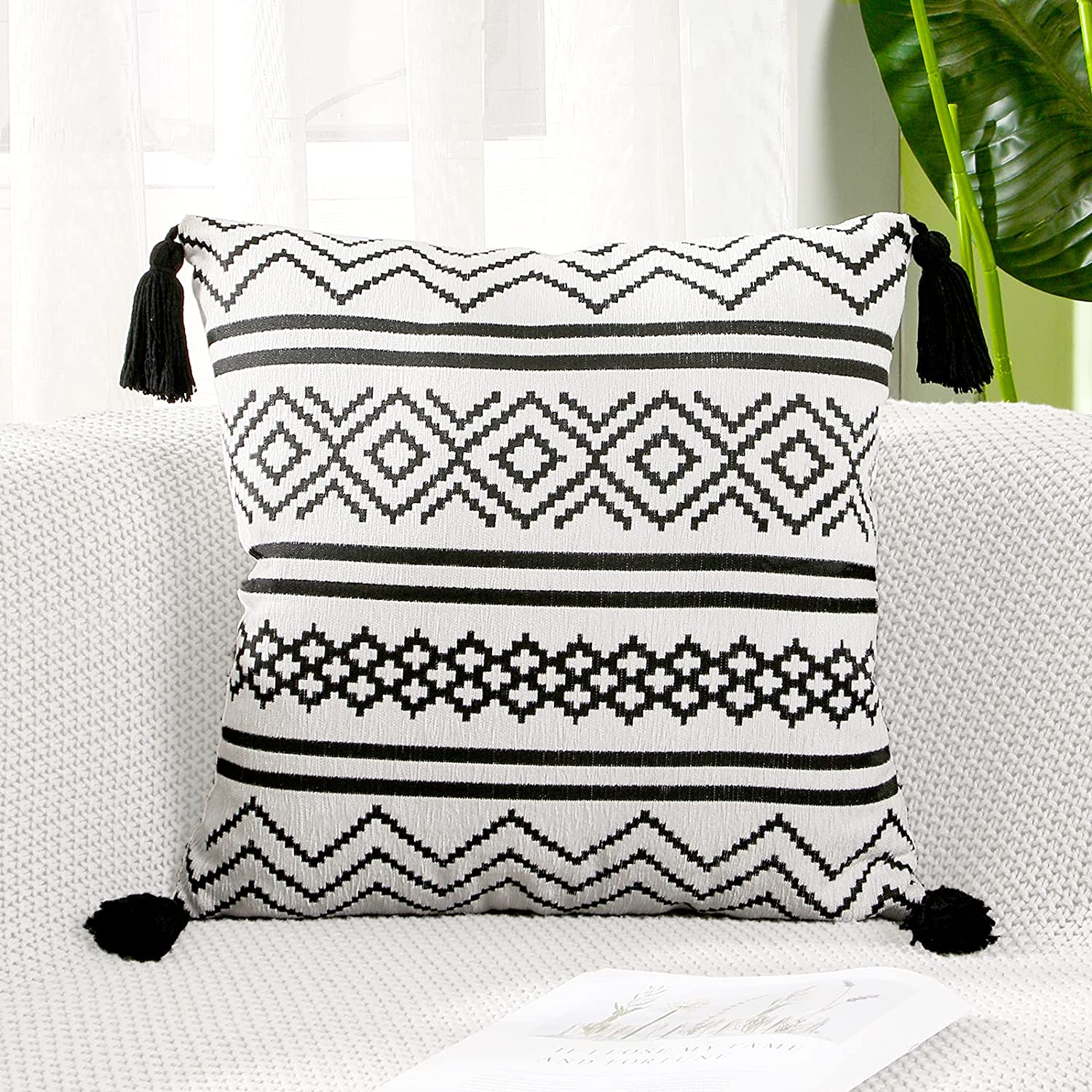 KAWELON Boho Throw Pillow Covers 18x18 Decorative Pillow Cases with Tassels 1 Pack Geometric Style Square Pillowcase for Sofa Couch Bed Bedroom Living Room Farmhouse Home Décor, White and Black