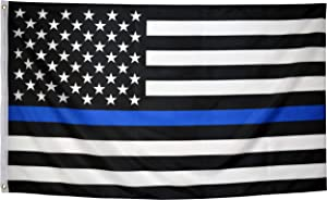 Eugenys Thin Blue Line American Flag (3x5 Feet) - Free US Police Flag Patch Included - Bright Vivid Colors, Durable Brass Grommets - Black White and Blue USA Flag Honoring Law Enforcement Officers