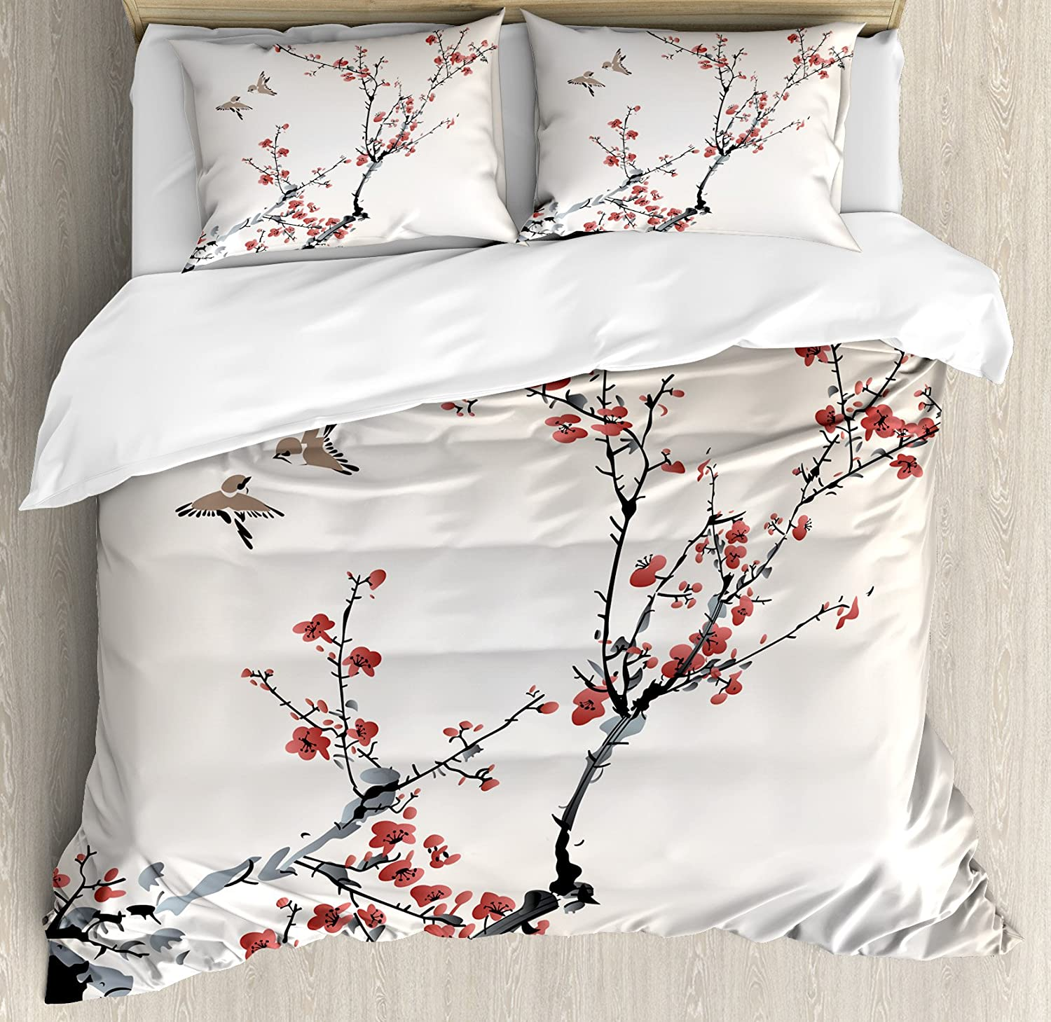 Ambesonne Nature Duvet Cover Set, Cherry Branches Flowers Buds and Birds Style Artwork with Painting Effect, Decorative 3 Piece Bedding Set with 2 Pillow Shams, King Size, Burgundy Black