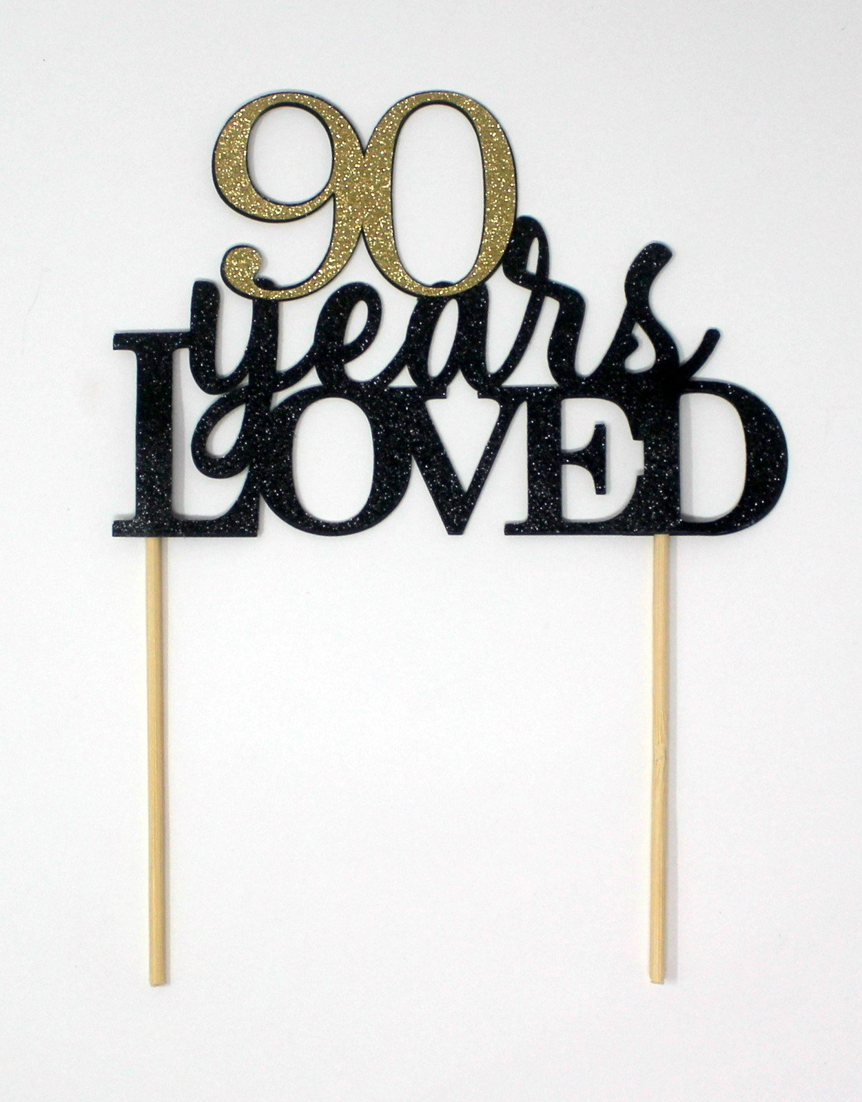 All About Details 90 Years Loved Cake Topper (Black & Gold)