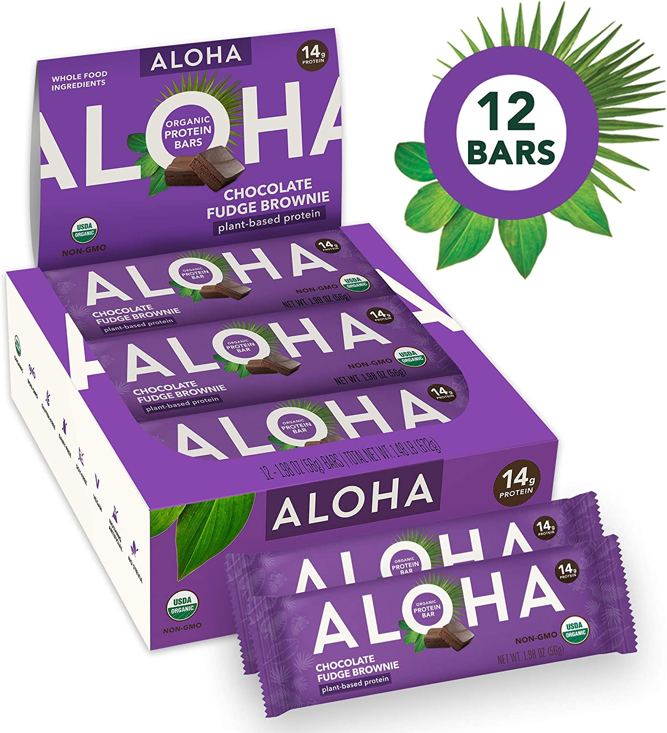 ALOHA Organic Plant Based Protein Bars |Chocolate Fudge Brownie | 12 Count, 1.9oz Bars | Vegan, Low Sugar, Gluten Free, Paleo, Low Carb, Non-GMO, Stevia Free, Soy Free, No Sugar Alcohols