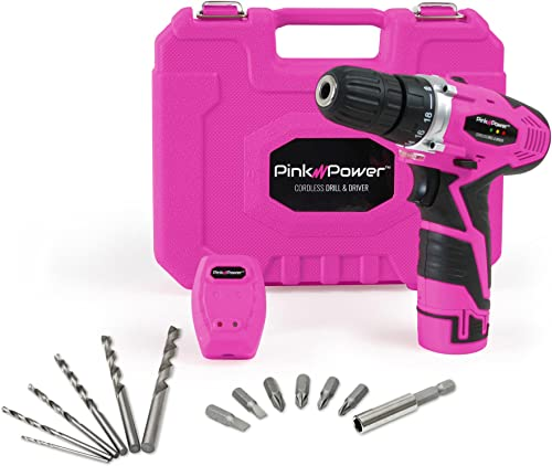 Pink Power PP121LI 12V Cordless Drill Driver Tool Kit for Women- Tool Case, Lithium Ion Electric Drill, Drill Set, Battery Charger