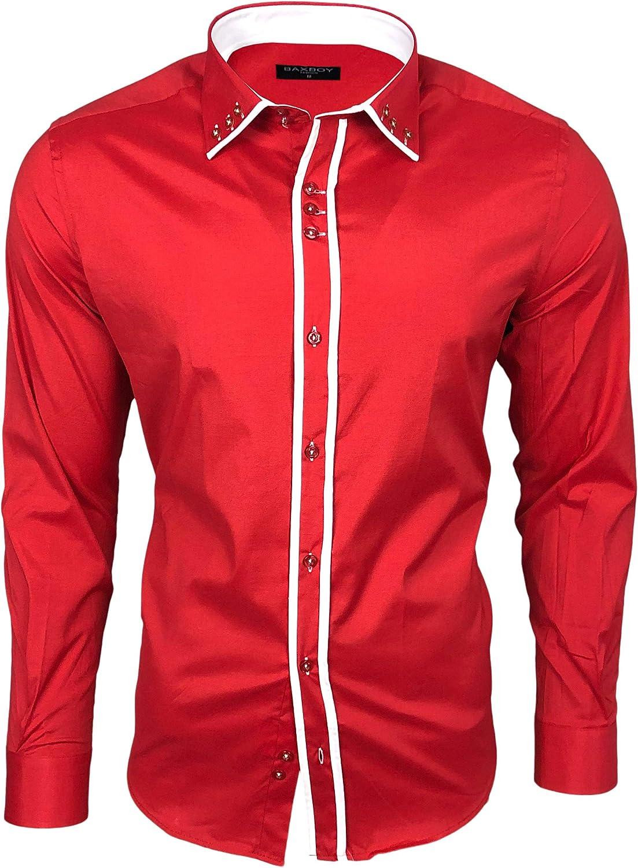 Baxboy B-500 - Camisa de manga larga para hombre, para negocios, tiempo libre, bodas, plancha, ajustada rojo/blanco XL: Amazon.es: Ropa y accesorios
